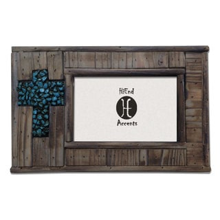 HiEnd Accents Wood W/Turquoise Rock Cross (Ea) 4X6