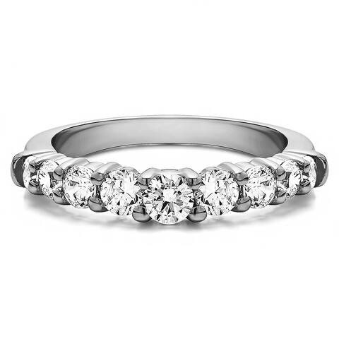 Sterling Silver Delicate Classic Curved Shadow Band mounted with Diamonds (G-H, I2-I3) (0.25 Cts. twt)