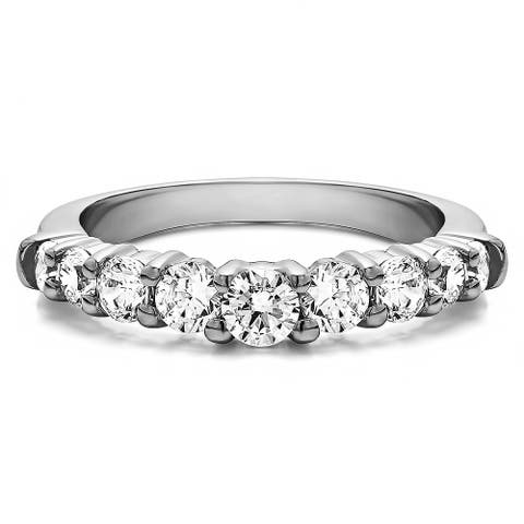 Sterling Silver Delicate Classic Curved Shadow Band mounted with Cubic Zirconia (0.5 Cts. twt)