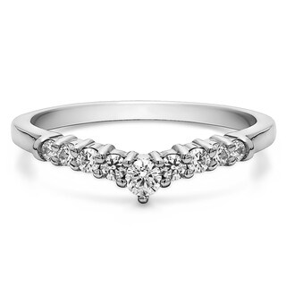 14K Gold Chevron Inspired Curved Band mounted with White Sapphire (0.33 Cts. twt)
