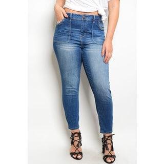 JED Women's Plus Size Blue Denim High Waisted Skinny Jeans