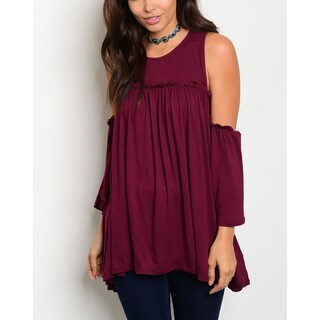 JED Women's Off Shoulder Soft Knit Tunic Top