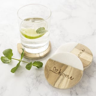 Love Home Marble & Acacia Wood Coasters - Set of 4|https://ak1.ostkcdn.com/images/products/15909303/P22312981.jpg?impolicy=medium