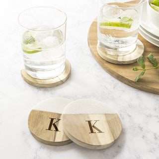 Personalized Marble & Acacia Wood Coasters - Set of 4