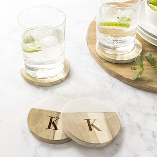 Personalized Marble & Acacia Wood Coasters - Set of 4|https://ak1.ostkcdn.com/images/products/15909315/P22312982.jpg?impolicy=medium