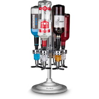 6 Bottle Bar Caddy / Liquor Dispenser-Chrome Finish