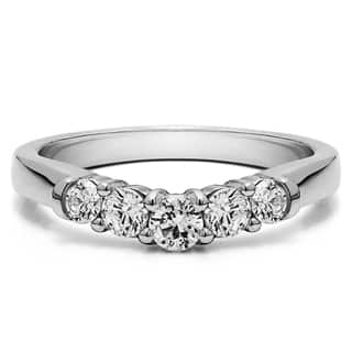 sterling silver perfectly contoured wedding ring mounted with cubic zirconia 075 cts twt - Overstock Wedding Rings