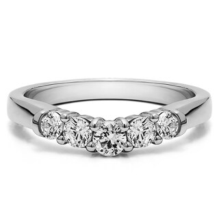 Sterling Silver Perfectly Contoured Wedding Ring mounted with White Sapphire (1 Cts. twt)