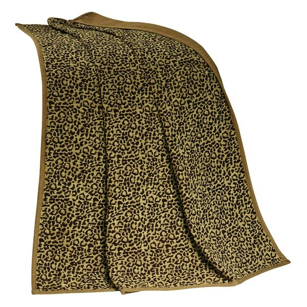 HiEnd Accents San Angelo Tan and Black Leopard Throw