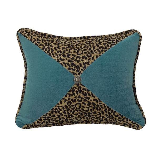 HiEnd Accents Teal Leopard 16-inch x 21-inch Sectioned Throw Pillow With Conch Detail
