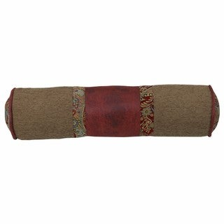 HiEnd Accents Paisley Tan/Red Faux Leather 8-inch x 26-inch Neckroll