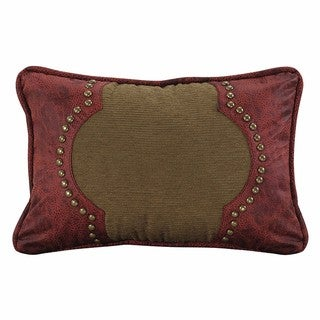 HiEnd Accents Tan 12-inch x 18-inch Throw Pillow With Red Faux Leather Scrolled Design Accent