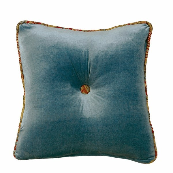 Shop HiEnd Accents Teal Velvet 18-inch X 18-inch Tufted
