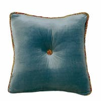 HiEnd Accents Teal Velvet 18-inch x 18-inch Tufted Throw Pillow With Contrasting Paisley Butt