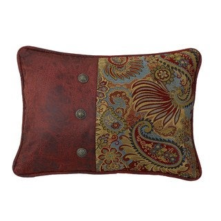 HiEnd Accents Paisley PrintThrow Pillow With Red Faux Leather Side And Con 16 X 21