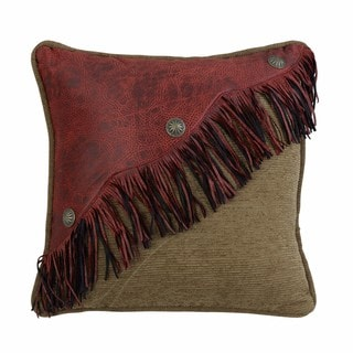HiEnd Accents Diagonal Red Faux Leather Design With Fringe And Concho 18 X 18