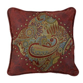 HiEnd Accents Paisley Print 18-inch x 18-inch Throw Pillow with Red Faux Leather Corners