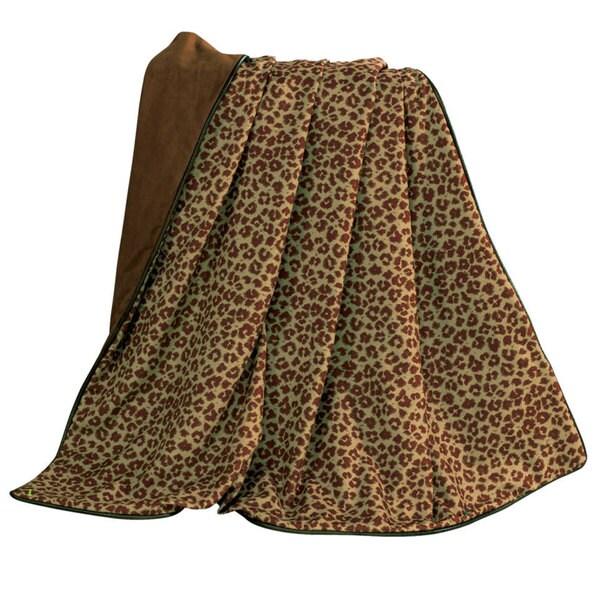HiEnd Accents Cheetach W Fringe 50 X 60-inch Camel Throw