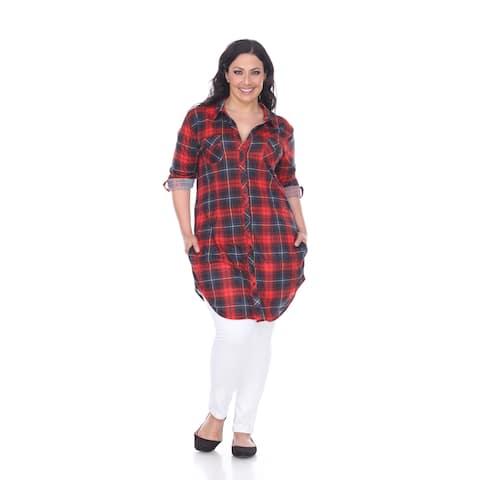 White Mark Women's Plus Size Piper Plaid Tunic
