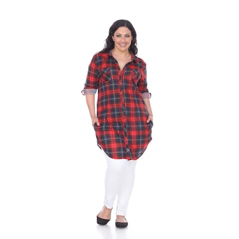 White Mark Women's Plus Size Piper Plaid Tunic