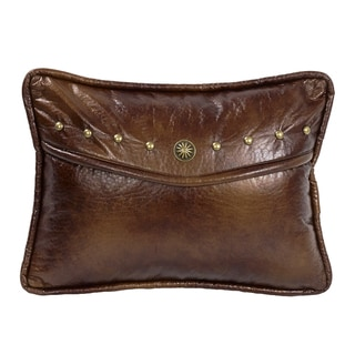 HiEnd Accents Oblong Brown Faux Leather and Cocnho Envelope Throw Pillow