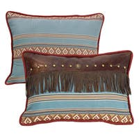 "HiEnd Accents Multicolored Blue-striped Throw Pillow with Fringe (14"" x 21"")"