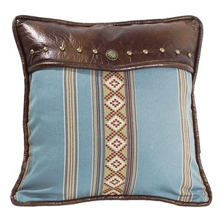 HiEnd Accents Blue Striped 16-inch x 16-inch Square Throw Pillow with Studs