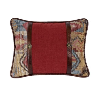 HiEnd Accents Brown/Red Oblong Throw Pillow with Faux Leather Band