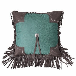 HiEnd Accents Cheyenne Turquoise 18-inch Square Scalloped Edge Throw Pillow