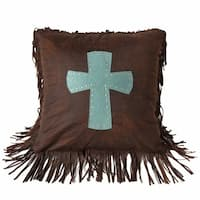 HiEnd Accents Cheyenne Turquoise Cross 18-inch x 18-inch Throw Pillow
