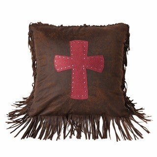 HiEnd Accents Cheyenne Cross Brown and Red 18-inch Square Throw Pillow