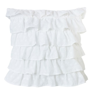 HiEnd Accents White 18-inch Tiered Ruffled Eyelet Throw Pillow
