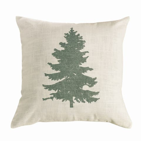 "HiEnd Accents Green Pine Tree on Linen Throw Pillow (18"" x 18"")"