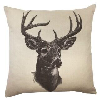 HiEnd Accents Whitetail Deer Linen PrintThrow Pillow 18 X 18