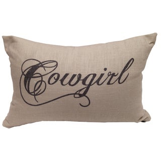 """HiEnd Accents Cowgirl Multicolored Linen Throw Pillow (12"""" x 19"""")"""