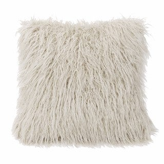 HiEnd Accents Mongolian White Faux Fur 18-inch x 18-inch Throw Pillow