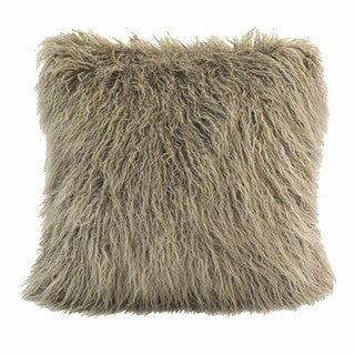 HiEnd Accents Mangolian Taupe Faux-fur 18 x 18-inch Throw Pillow