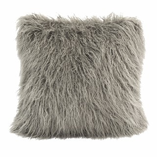 HiEnd Accents Mongolian Grey Faux Fur 18x18 Throw Pillow
