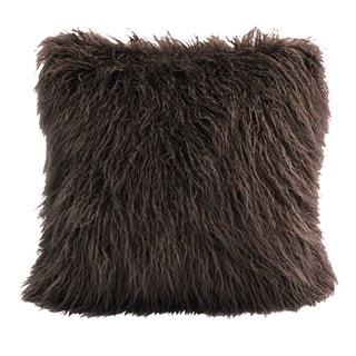 HiEnd Accents Mangolian Chocolate Faux Fur 18-inch x 18-inch Throw Pillow