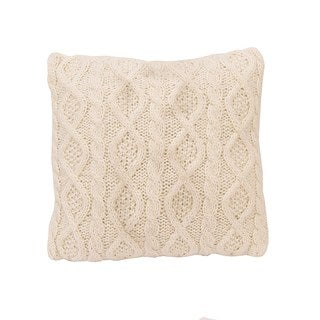 HiEnd Accents Cream Cable Knit 18-inch Square Throw Pillow