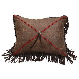 HiEnd Accents X Design Brown Faux Leather 21-inch x 16-inch Throw Pillow