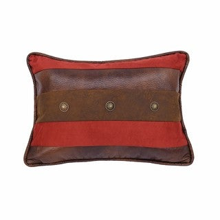 HiEnd Accents Striped Brown and Red Faux Leather and Faux Suede 12-inch by 18-inch Throw Pillow