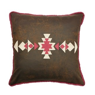 HiEnd Accents Multicolor Faux Leather 18-inch x 18-inch Throw Pillow with Southwestern Embroidery