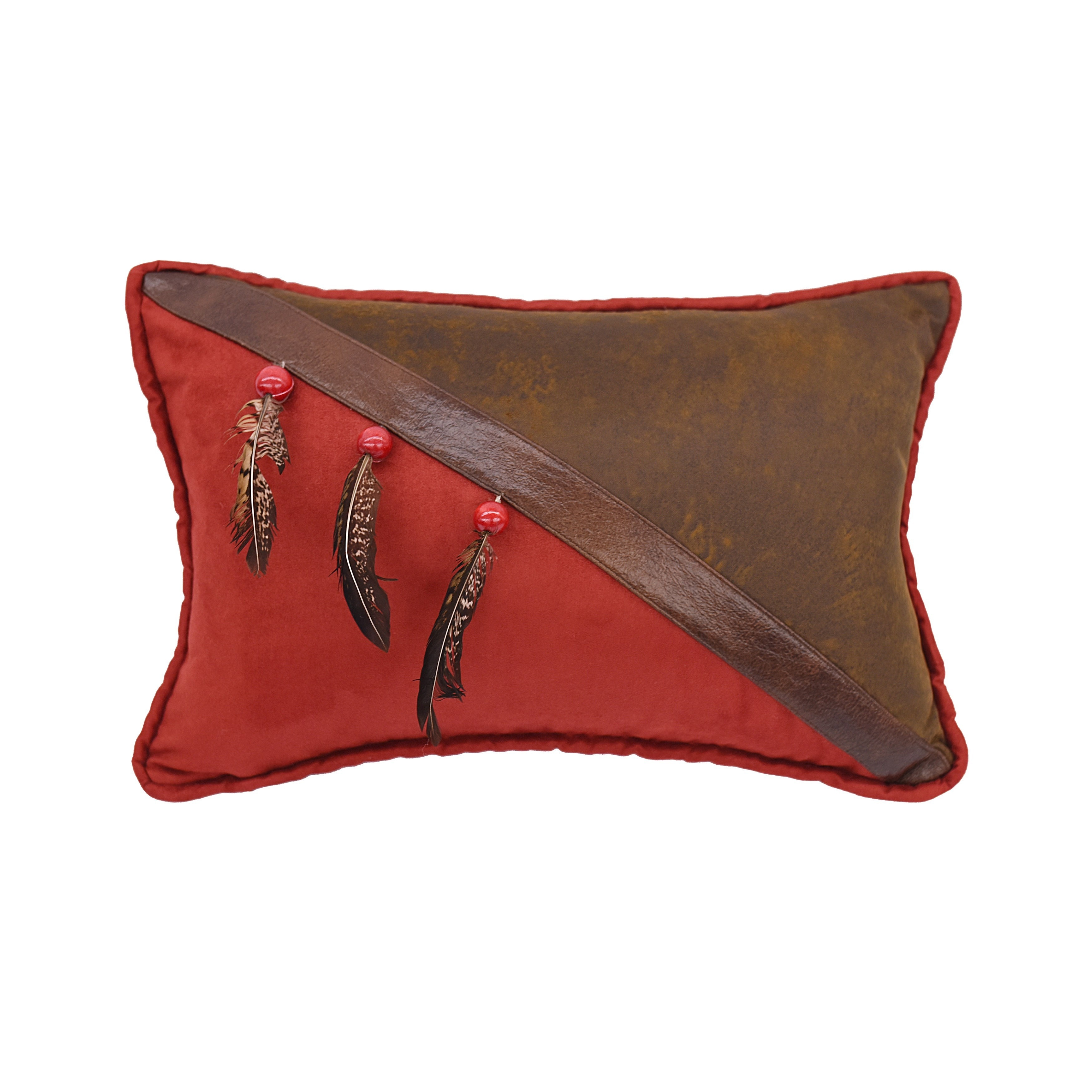 HiEnd Accents Multicolor 1/2 Faux Leather 12-inch x 18-inch Throw Pillow with Beads and Feathers (Throw Pillows)