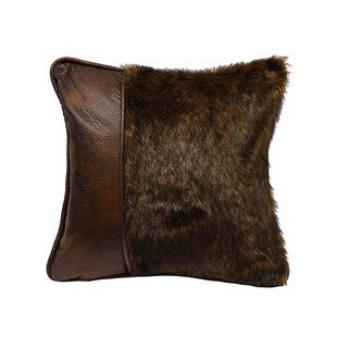 HiEnd Accents FurThrow Pillow With Faux Leather 18X18