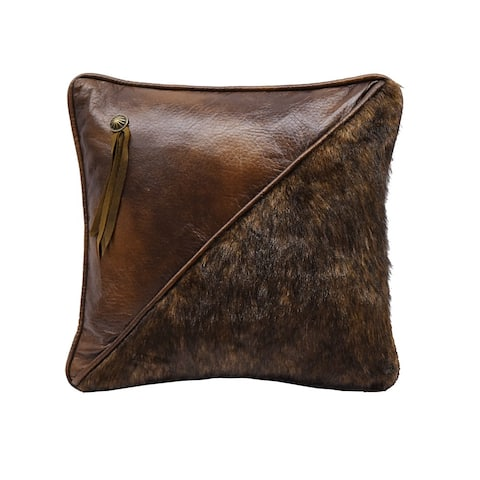 HiEnd Accents Half Faux Fur and Faux Leather 18-inch Throw Pillow