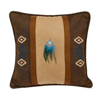 HiEnd Accents Southwest Embroidered Faux Suede 18-inch x 18-inch Throw Pillow With Feathers