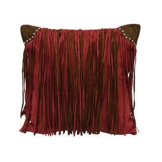 HiEnd Accents Multicolor Fringed Faux Suede 18x18 Throw Pillow with Studs