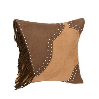 HiEnd Accents Pieced Faux LeatherThrow Pillow W Studs And Fringe  18X18