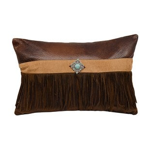 HiEnd Accents Multicolor Faux Suede Throw Pillow with Concho and Fringe